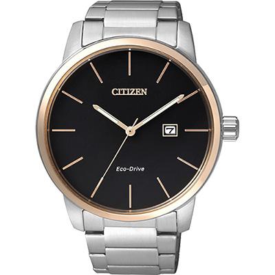 CITIZEN 光動能都會腕錶(BM6964-55E)-黑x玫瑰金框/43.8mm