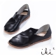 iki2-真皮舒適編織感平底涼鞋 - 個性黑