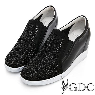 GDC-真皮方孔鑲鑽素面金屬感休閒鞋-黑色