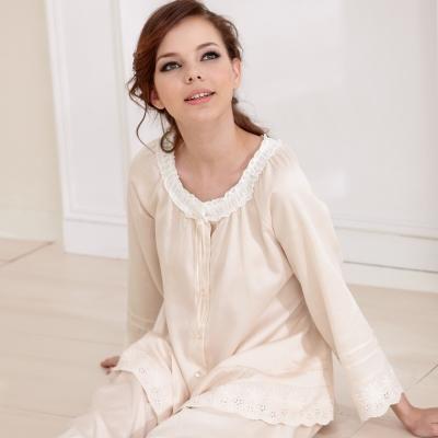 羅絲美睡衣 - 甜蜜花園舒適長袖褲裝睡衣(卡其色)