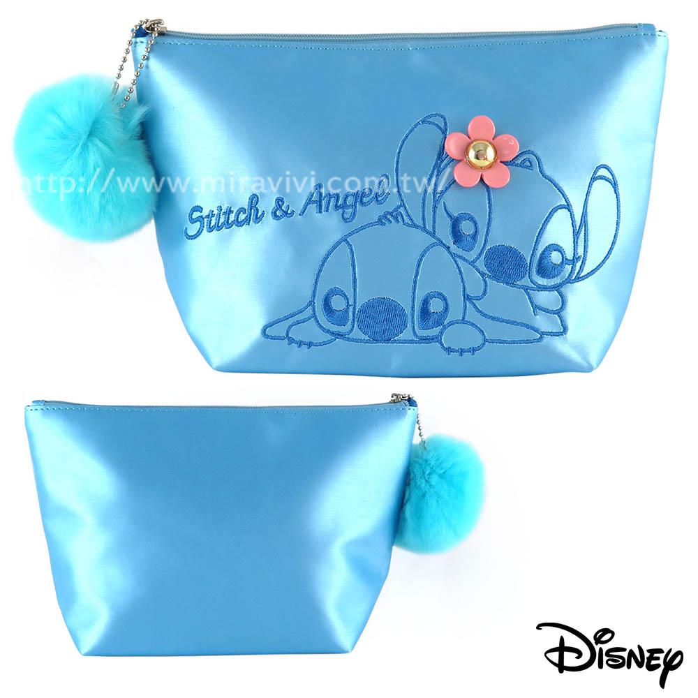 Disney精緻造型電繡毛球化妝包/收納包-史迪奇