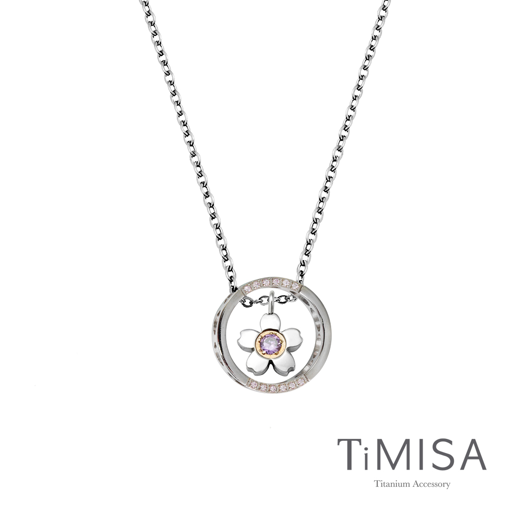TiMISA《迷你櫻花指輪》(共三色)純鈦項鍊(E)