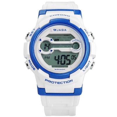 JAGA 捷卡 搶眼青春活力電子運動橡膠手錶-藍白色/39mm