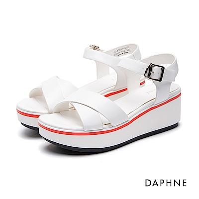 達芙妮DAPHNE 涼鞋-交叉寬帶拼色楔型跟-白
