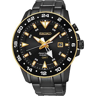 SEIKO Sportura GMT 二地時間專業人動電能腕錶-黑/44mm