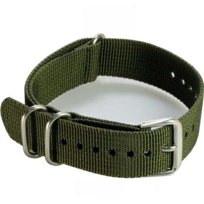 軍規尼龍帆布穿帶式錶帶 (軍綠色)