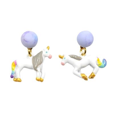Les Nereides N2  神話獨角獸系列 奔跑的獨角獸 迷幻寶石耳針式耳環