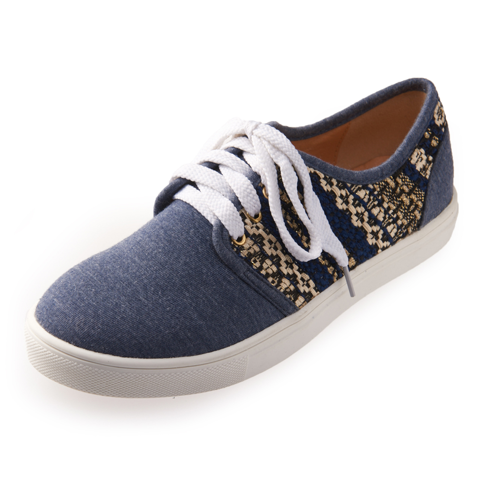 Chichi 民族風格 圖騰綁帶厚底休閒鞋*藍色