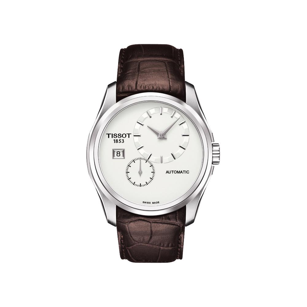 TISSOT Couturier建構師偏心系列機械腕錶-銀x咖啡39mm