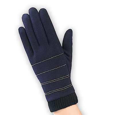 幸福揚邑 防風觸控手套加絨保暖機車手套-螺紋男款-深藍