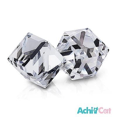 AchiCat 白鋼耳環耳針式 絢麗方塊(晶瑩白)