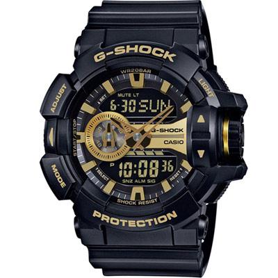 G-SHOCK 街頭搖滾金屬風多層次運動錶(GA-400GB-1A9)-黑x金色/51mm