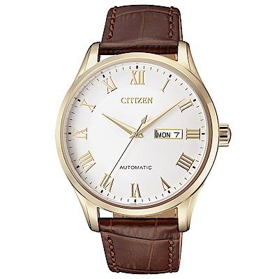 CITIZEN星辰 極品紳士皮帶機械腕錶(NH8363-14A)- 白/41mm