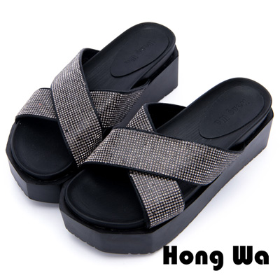 Hong Wa - 簡約流行金屬交叉帶拖鞋 - 黑