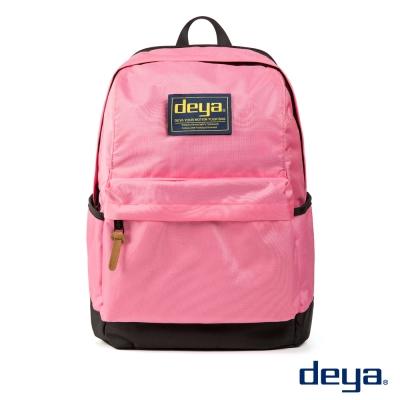 deya 經典校園 防潑水繽紛撞色後背包  日式粉
