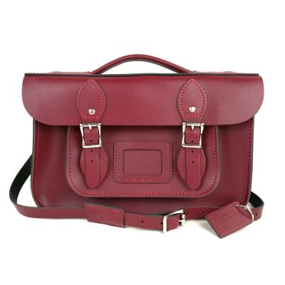 The Leather Satchel 英國手工牛皮劍橋包 肩背手提包 葡萄紅 12.5吋
