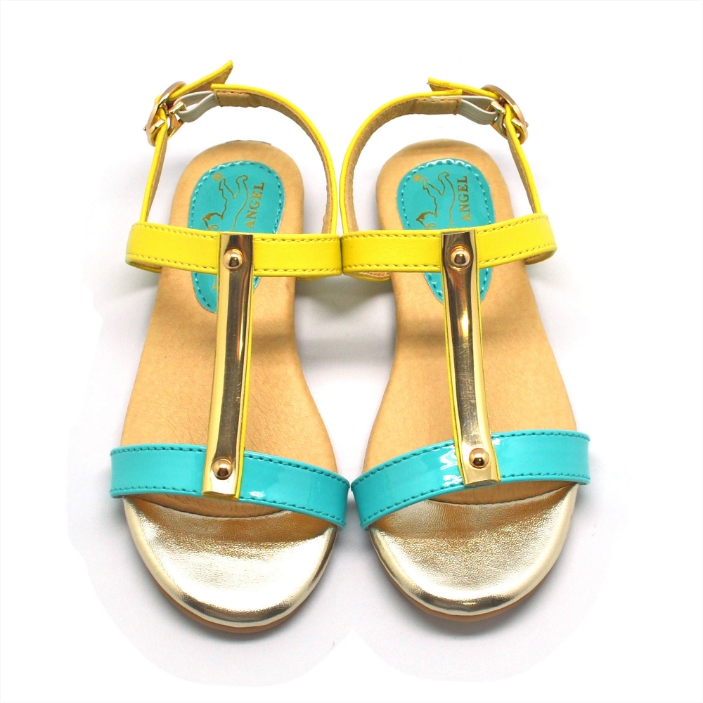 WhiteAngel天使童鞋-D364 亮彩工字形涼鞋-藍