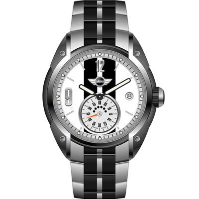 MINI Swiss Watches  休閒運動腕錶-白x黑鋼帶款/45mm