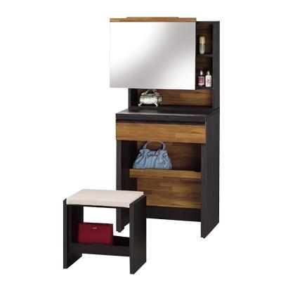 品家居 艾瑞克2尺化妝鏡台含椅-60x41x143cm-免組