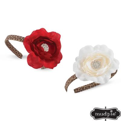 Mud Pie 秋冬新款 豹紋鑽石紅白花髮箍兩入組