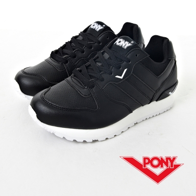 PONY-NCHASER系列-帥勁全黑復古慢跑鞋