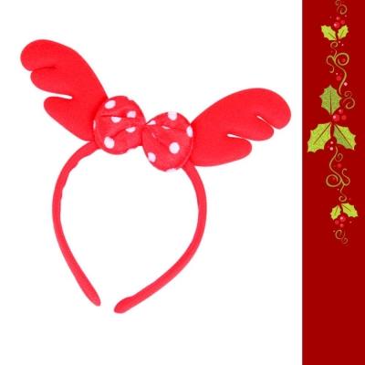 摩達客 超萌聖誕紅圓點蝴蝶結鹿角髮箍