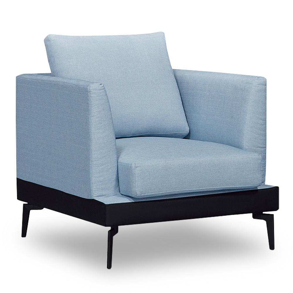 時尚屋 柏頓單人座藍色布套沙發