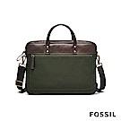 FOSSIL HASKELL 俐落商旅真皮公事扁包-焦糖啡色/墨綠帆布