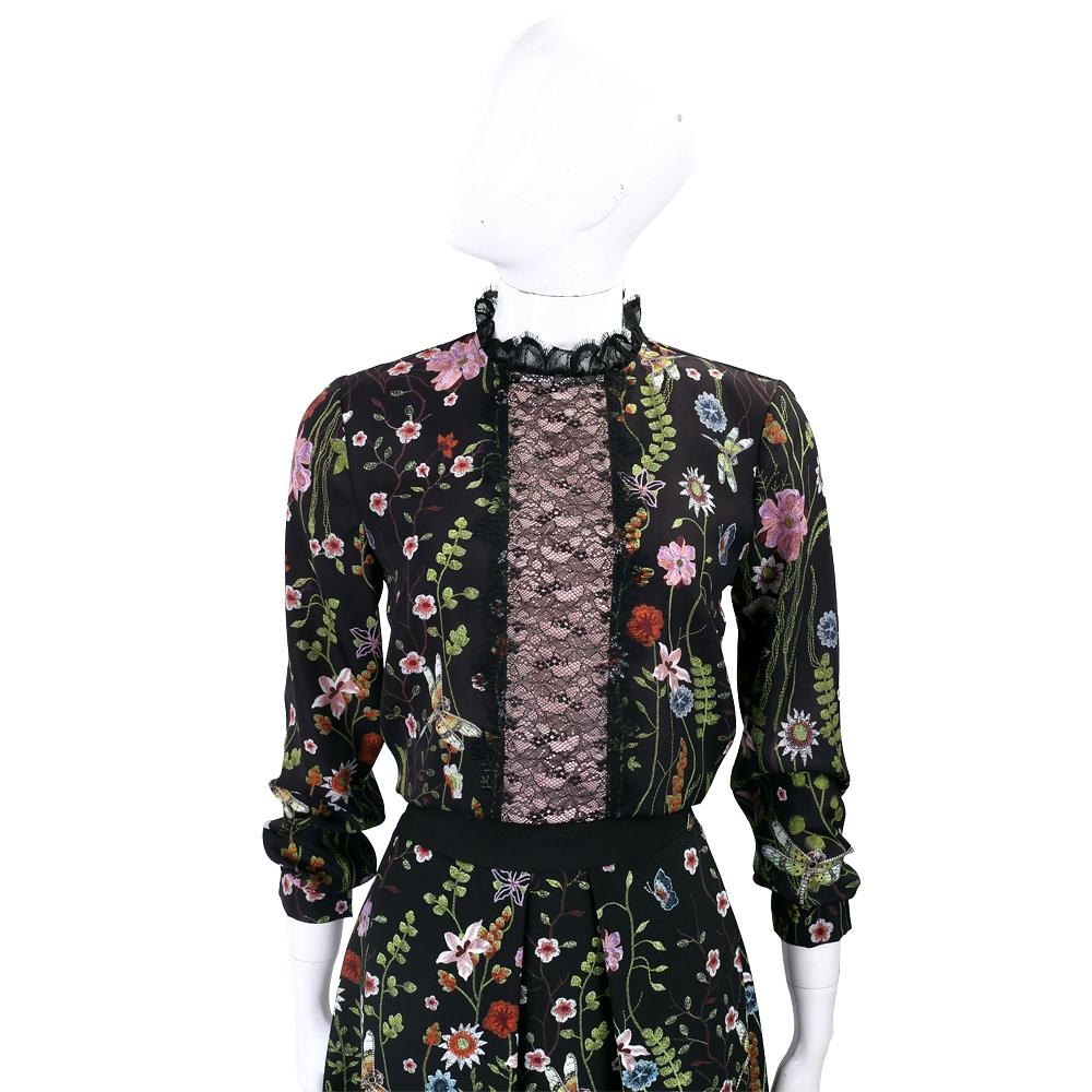 BLUGIRL-FOLIES 花卉刺繡黑色蕾絲細節雪紡上衣