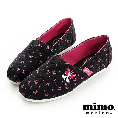 MIMO-溫柔情人-小蝴蝶結棉布懶人鞋-黑-女
