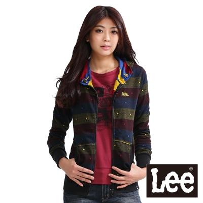 Lee-長袖外套-拉鍊連帽雙層緹花-女款-彩色橫條