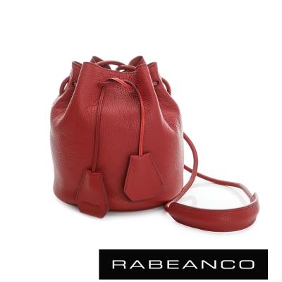 RABEANCO-真皮荔枝紋經典束口水桶包-紅