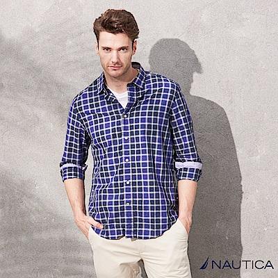 Nautica經典無印風格紋短袖襯衫-紫藍