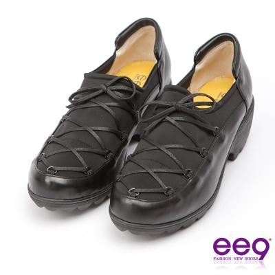 ee9-MIT經典手工-率性風格靚亮異材質併接繫帶休閒跟鞋-黑色
