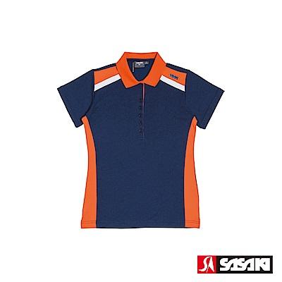 SASAKI 棉質吸濕排汗功能運動休閒短衫-女-丈青/桔紅