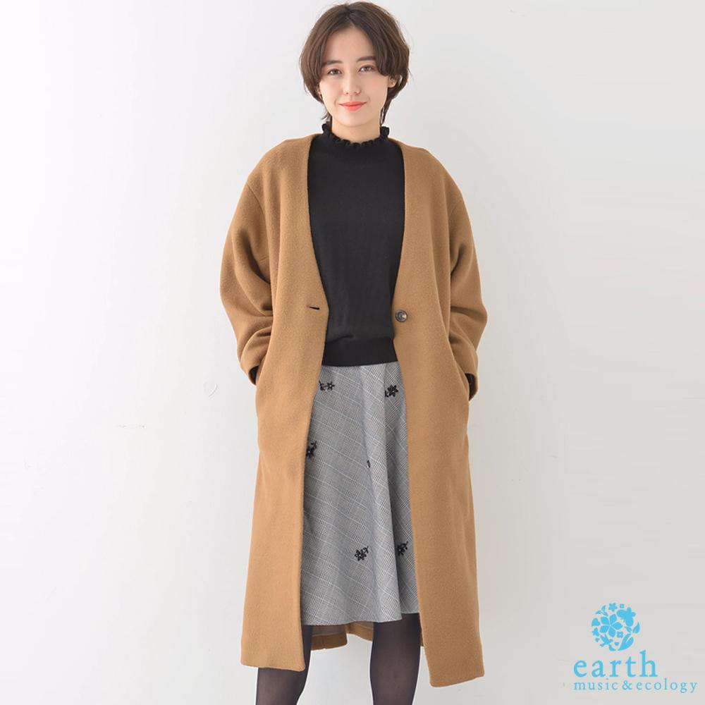 earth music 保暖單扣無領長版大衣