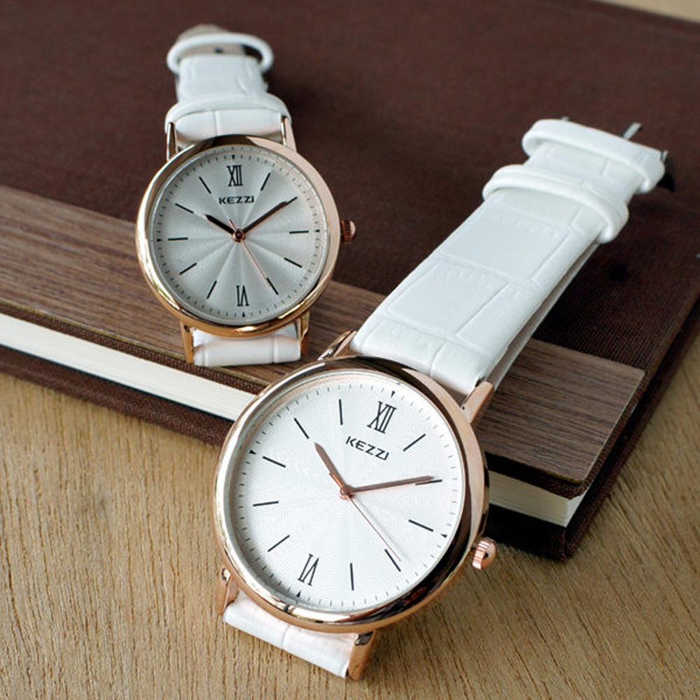 KEZZI水波紋羅馬皮質情侶對錶-白色30mm