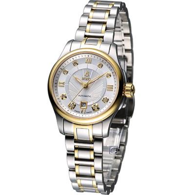 E.BOREL 依波路 布拉克系列機械腕錶-銀白x雙色/28mm/