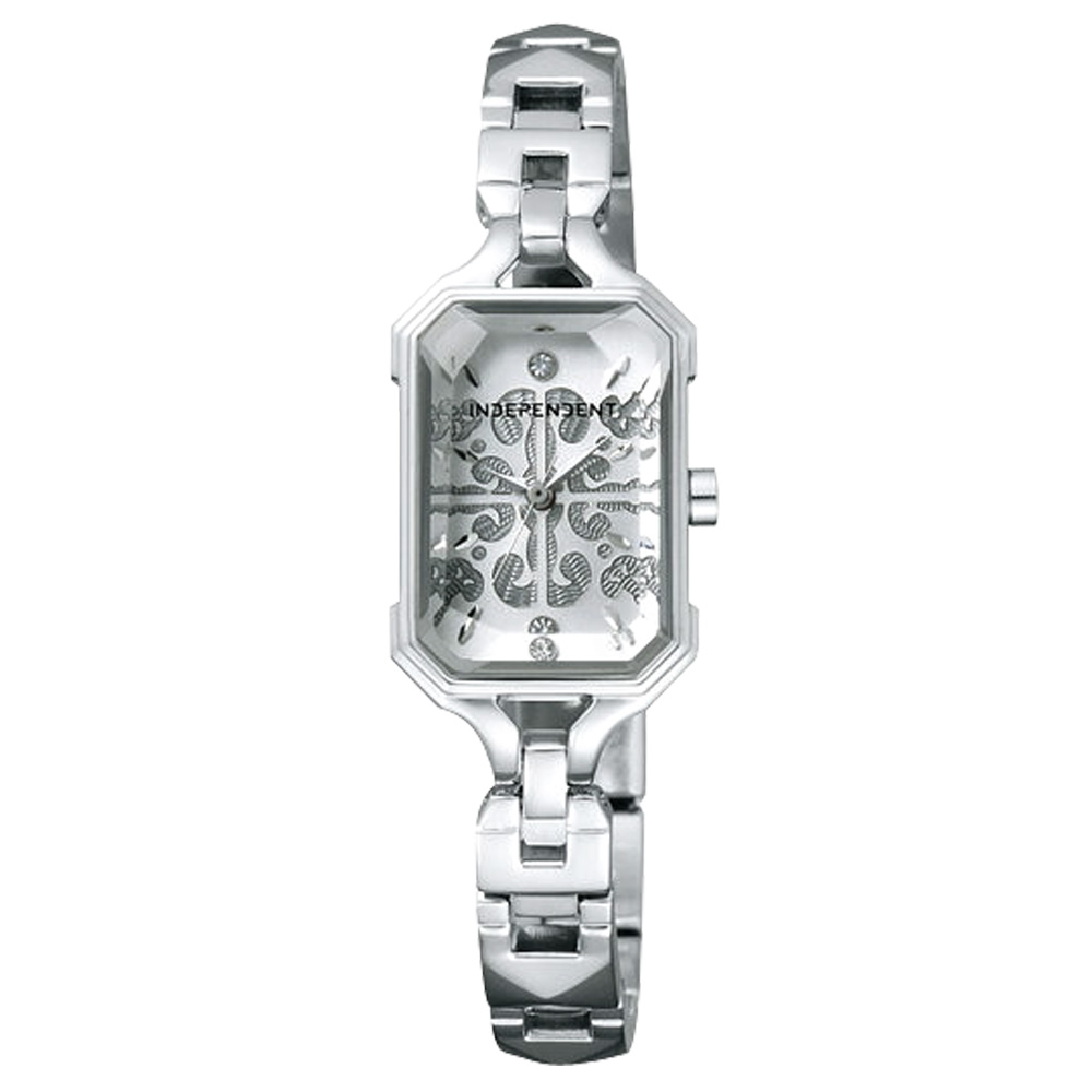 INDEPENDENT 巴洛克女伶時尚晶鑽腕錶-銀/16mm