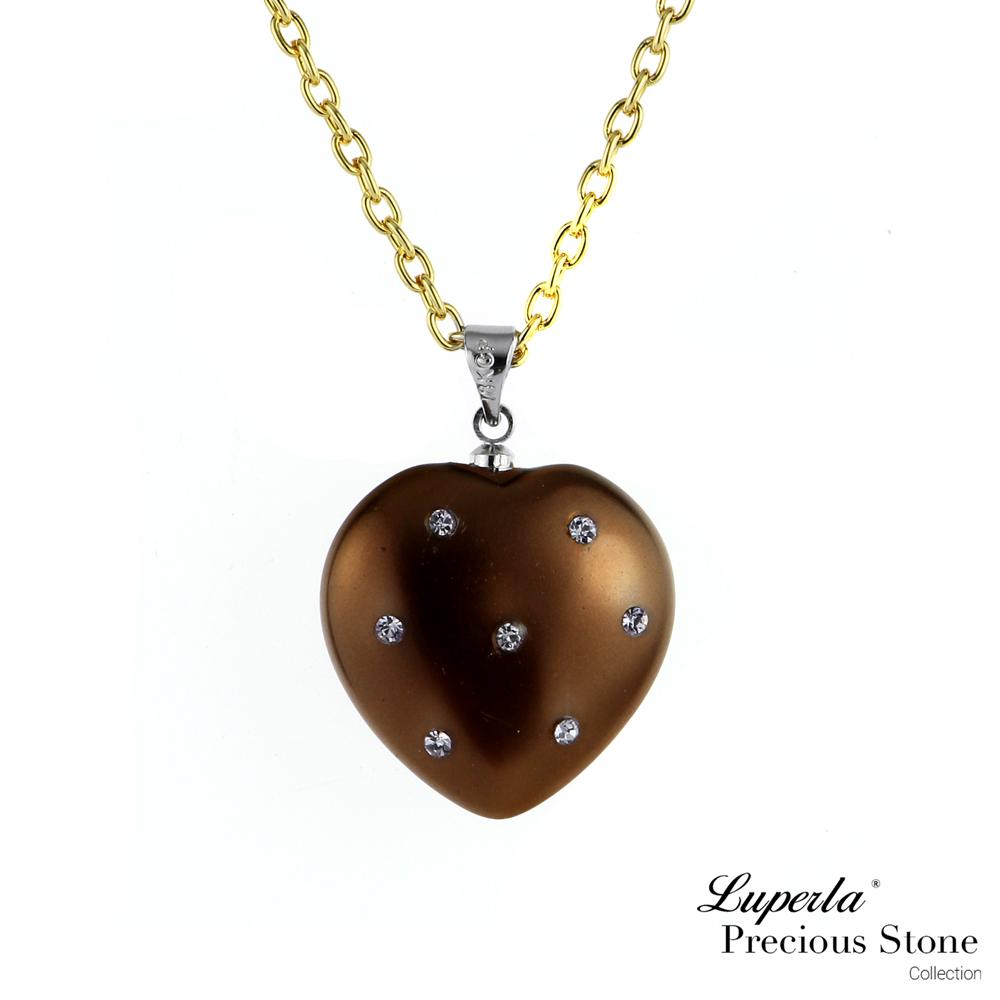 大東山珠寶 巧克力甜心派對貝寶珠愛心長項鍊