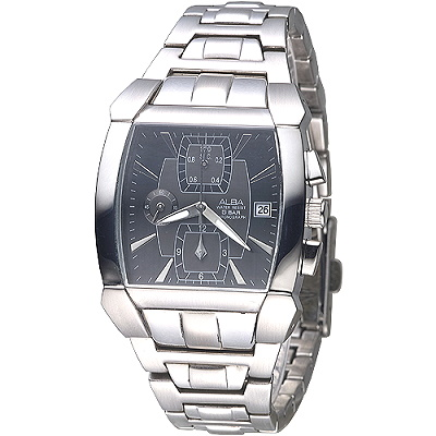 ALBA 決戰未來三眼時尚計時錶(AF8D63X1)-黑/36mm