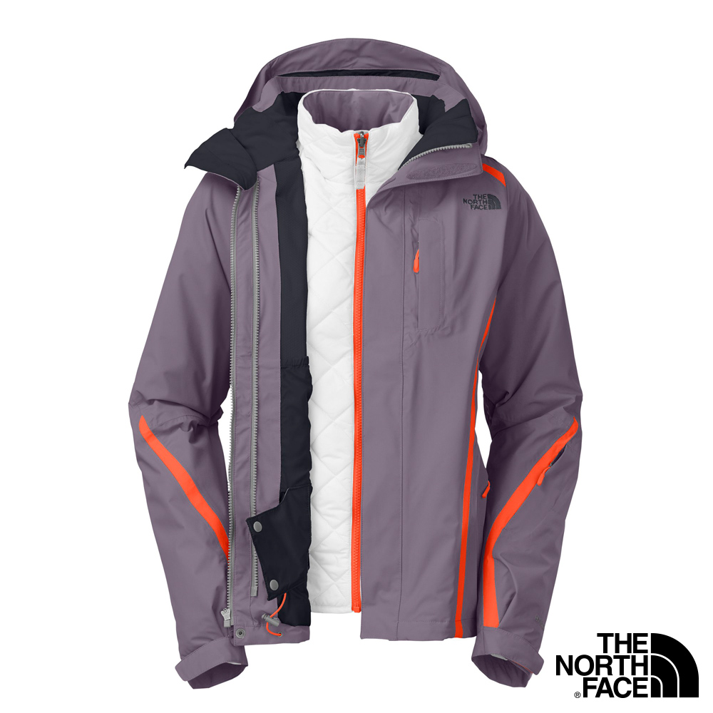 The North Face -女 HVHeatseeker 兩件式滑雪外套-灰