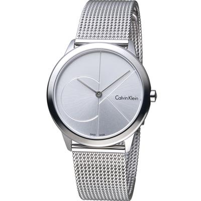 Calvin Klein minimal  大 ck 簡約時尚腕錶-銀/35mm