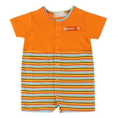 愛的世界 MYBEAR 夏令營純棉條紋拼色衣連褲-橘/6個月~2歲