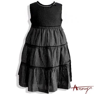 Anny條紋圓領蛋糕裙背心長洋裝*0225黑