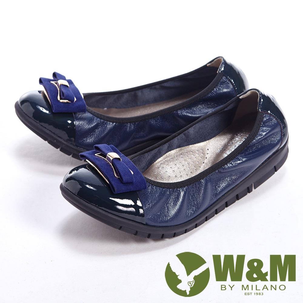 W&M 麂皮緞帶優雅蝴蝶結柔軟女鞋-藍