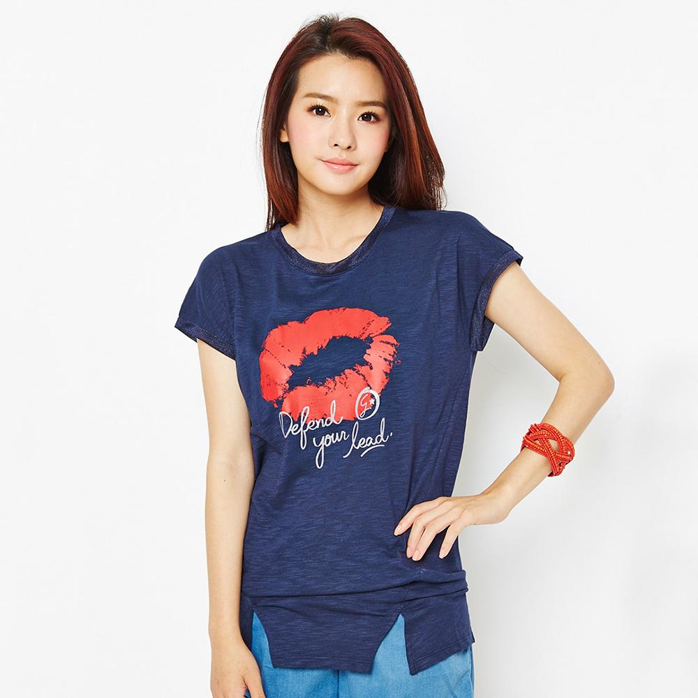 TOP GIRL 紅唇印花圓領造型T-藍