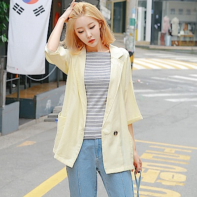 素色翻領開襟單釦七分袖罩衫/外套.2色-OB大尺碼