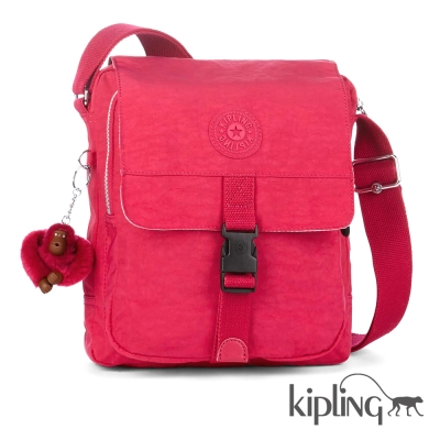 Kipling 斜背包 桃紅素面-小