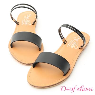D+AF 夏日焦點.一字造型二穿涼拖鞋*黑